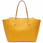 Gucci Swing Golden Yellow Leather Shoulder Tote Handbag 354397
