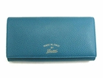 Gucci Swing Turquoise Blue Leather Continental Wallet 354498