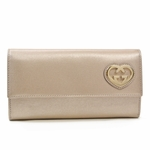 Gucci Takeru Heart Logo Champagne Gold Leather Continental Wallet  251861