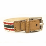 GUCCI Traditional Green/Red Web Unisex Buckle Bracelet Brown Leather