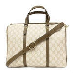 Gucci Vintage Web Brown Leather GG Canvas Boston Bag 247205