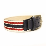 GUCCI Traditional Green/Red Web Unisex Buckle Bracelet Blue Leather
