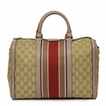 Gucci Web Original GG Logo Canvas and Pink Leather Boston Bag 247205
