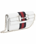 Gucci White Leather Heritage Clutch Handbag 245753