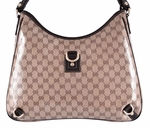 Gucci Women's 268636 Large Crystal Canvas GG Guccissima D Ring Abbey Purse