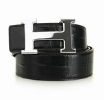 Hermes Black Crocodile H Buckle Belt HM1004