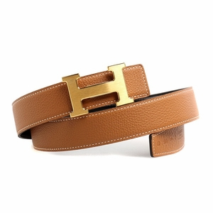 Hermes Tan Leather Belt H Buckle HM1005