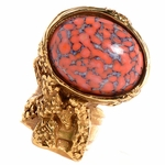 Saint Laurent Yves YSL Arty Ovale Oval Ring Coral Glass Set 196994