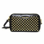 Miu Miu Black Leather Gold Studded Wristlet
