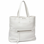 Miu Miu by Prada Vitello Diano Textured Leather Shopping Tote Bag RR1934, White