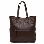 Miu Miu by Prada Vitello Soft Leather Shopping Tote Bag, Bruciato Coffee Brown