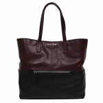 Miu Miu by Prada Vitello Soft Leather Shopping Tote Bag RR1934, Burgundy & Black Two-Toned Colorblock