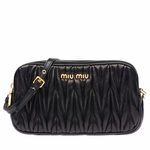 Miu Miu Matelasse Black Nappa Leather Pleated Wristlet Handbag 5ARH02