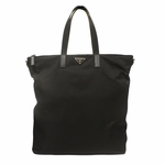 Prada Black Nylon and Leather Shopping Tote Bag VA0906
