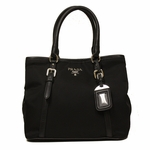 Prada Black Tessuto Soft Calf Leather Bowling Bag Medium Top Handle Handbag with Shoulder Strap BN1841