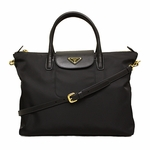 Prada BN2541 Tessuto + Saffiano Tote Black with Detachable Strap
