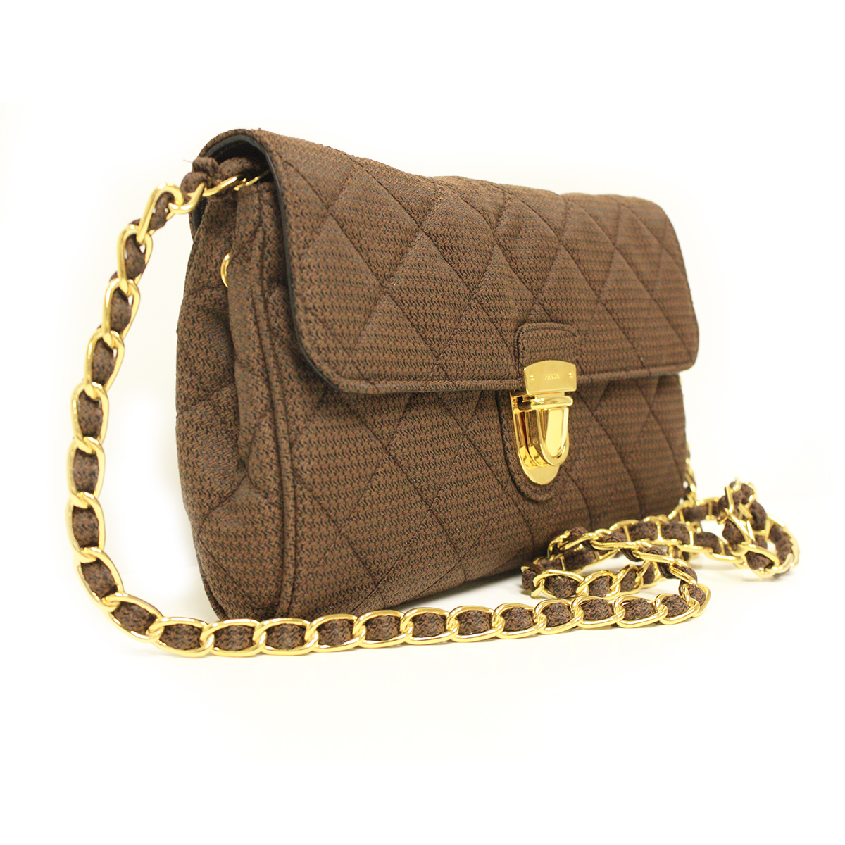 Prada BP0584 Tessuuto Pattina Brown Quilted Nylon Chain Clutch Bag ...