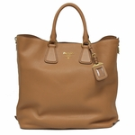 Prada Daino Naturale Textured Leather Shopping Tote Bag BN2419, Saddle Brown