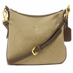 Prada Logo Jacquard Brown Leather Crossbody Bag BT0706