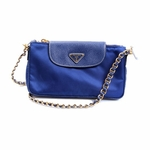 Prada Nylon Blue Tessuto Saffiano Handbag Chain Handle BT0779