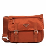 Prada Papaya Orange Tessuto Pattina Nylon and Leather 2 Pocket Cross Body Messenger Bag BT0953