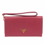 Prada Pink Saffiano Textured Leather Wristlet Wallet Bag 1M1438