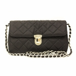 Prada BP0584 Nero Tessuto Black Quilted Nyon Chain Shoulder Bag