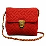 Prada Quilted Tessuto Chain Bag in Red