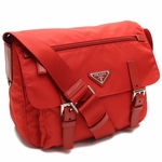 Prada Red Tessuto Pattina Nylon and Leather Cross Body Messenger Bag BT0953