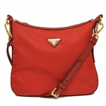 Prada Rosso Red Tessuto Saffian Leather Crossbody Messenger Bag BT0706