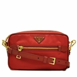 Prada Rosso Red Tessuto Saffian Leather Crossbody Messenger Bag BT0773
