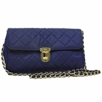 Prada Royal Blue Quilted Tessuto Nylon Saffiano Leather Chain Shoulder Cross Body Handbag for Women BP0584