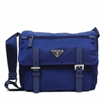 Prada Royal Blue Tessuto Pattina Nylon and Leather Cross Body Messenger Bag BT0953