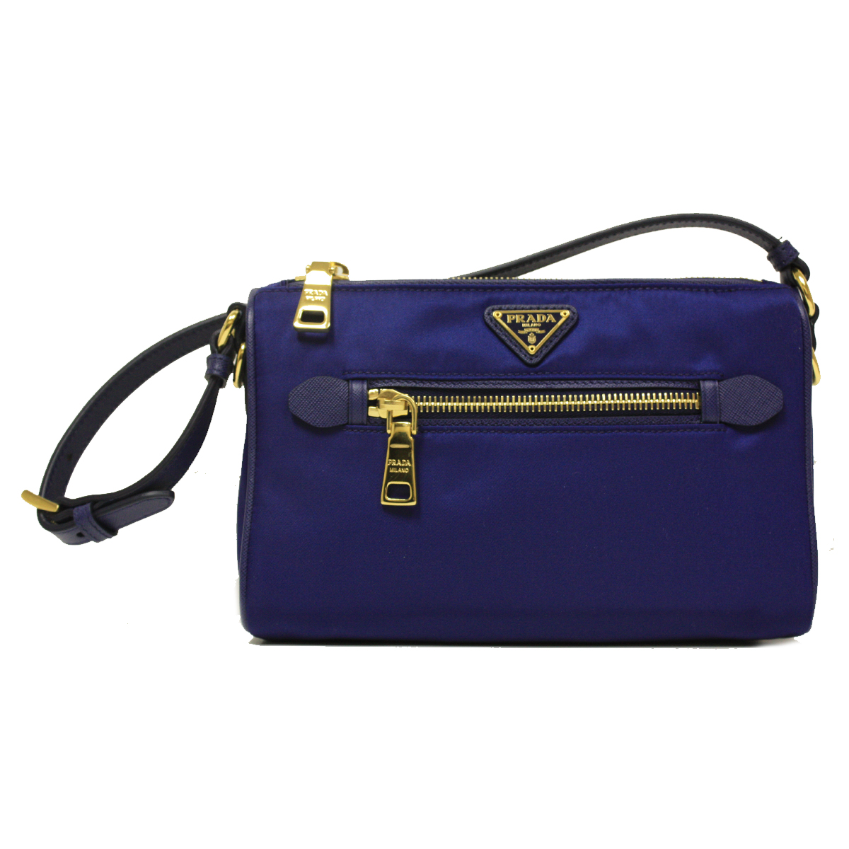 popular tote bag with brown handles - Prada Royal Blue Tessuto Saffian Leather Small Shoulder Bag BN1834 ...