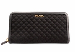 PRADA SAFFIANO Leather Zip-Around Black Wallet 1M0506