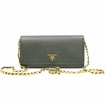 Prada Saffiano Metal Smeraldo Green Leather Chain Wallet 1M1290