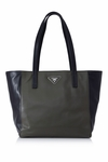 PRADA Shopping Soft Calf Leather Br5109 Black/Dark Green Tote Bag