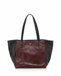 PRADA Shopping Soft Calf Leather Br5109 Nero/ Granato Tote Bag