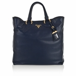 Prada Soft Calf Leather Shopping Tote Bag BN1713, Blue