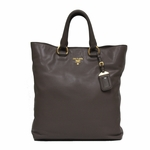 Prada Soft Calf Leather Shopping Tote Bag BN1713, Taupe Brown