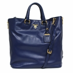 Prada Soft Calf Leather Shopping Tote Bag BN2477, Bluette / Blue