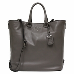 Prada Soft Calf Leather Shopping Tote Bag BN2477, Grey / Argilla