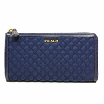 Prada Stitched Quilted Pattern Royal Blue Leather & Nylon Wallet 1M1183