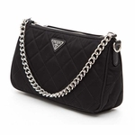 Prada Tessuto Impuntu Quilted Nylon Chain Handle Shoulder Bag 1BH026, Black / Nero