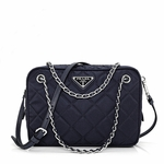 Prada Tessuto Impuntu Quilted Nylon Shoulder Chain Handbag BL0910, Navy Blue / Bleu