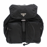 Prada Tessuto Zainetto Nylon and Leather Backpack 1BZ005, Black / Nero