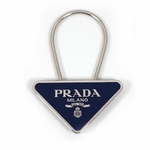 Prada Triangle Navy Blue Silver Metal Men's Key Chain 1PS395