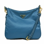Prada Blue Tessuto Saffian Leather Crossbody Messenger Bag BT0706