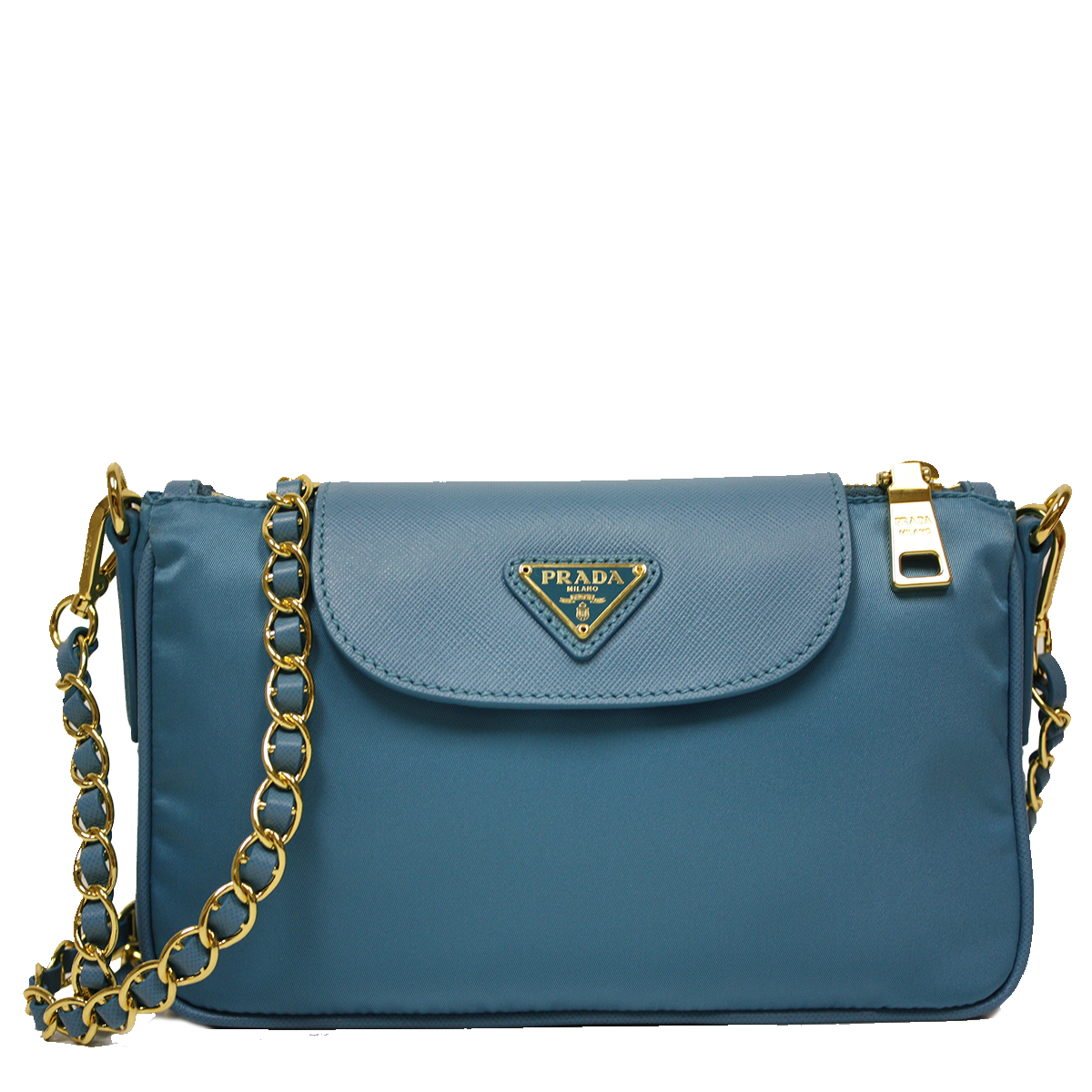 3aaf23ba625025 Prada Blue Tessuto Saffiano Leather Chain Handle Crossbody Bag .