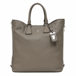 Prada Vitello Phenix Large Textured Leather Shopping Tote Bag BN2419, Grey